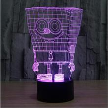 SpongeBob Colorful three-dimensional 3D visual LED lamp creative lamp Acrylic lamp night light colorful gradient Holiday Lamp(China)