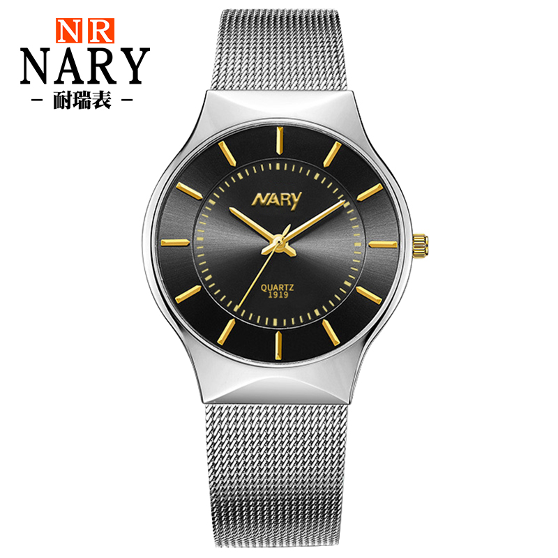 New Fashion top luxury brand NARY watches men quartz watch stainless steel mesh strap ultra thin dial clock relogio masculino<br><br>Aliexpress