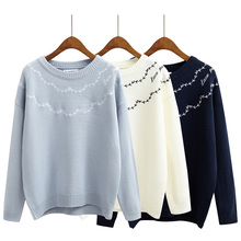 Women Kawaii Casual Loose O-Neck Embroidery Flower Sweater Female Knitted Cute Harajuku Loose Pullover And Jumper