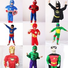 Boys Muscle Super Hero Captain America Costume SpiderMan Batman Iron Man Hulk Avengers Costumes Cosplay for Kids Children Boy