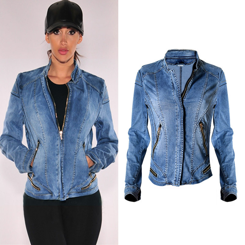 2017 New Hot Sale Popular Women Baseball Jackets Stretch Denim Jacket Multi-zipper Short Motor Style Chaqueta Female Denim Coats (2)