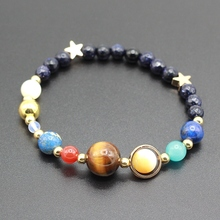 Universe Galaxy the Eight Planets in the Solar System Guardian Star Natural Stone Beads Bracelet Bangle for Women & Men(China)