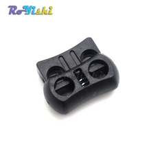10pcs/pack 2 Holes Cord Lock Toggle Stopper Plastic toggle clip  Black 15mm*20mm*7.5mm