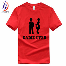 Euro Size,Men's Game Over Funny Printed T-shirt Homme Summer 100% Cotton T shirt Fashion Brand Clothing Women Tee Shirt,GP058