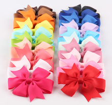 20pcs/lot 3'' Boutique Grosgrain Ribbon Hair Bows With Clips Girl Hair Ties Rope Kids Headbands Hair Clips Hair Accessories(China)