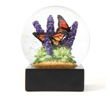 9Pig/Souvenirs Crystal Ball Snow Globe Butterfly Purple Flower Green Plants Golden Snowflake/Transparent Ball Home Office Decor