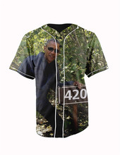 Real American Size  obama 420 3D Sublimation Print Custom made Button up baseball jersey plus size