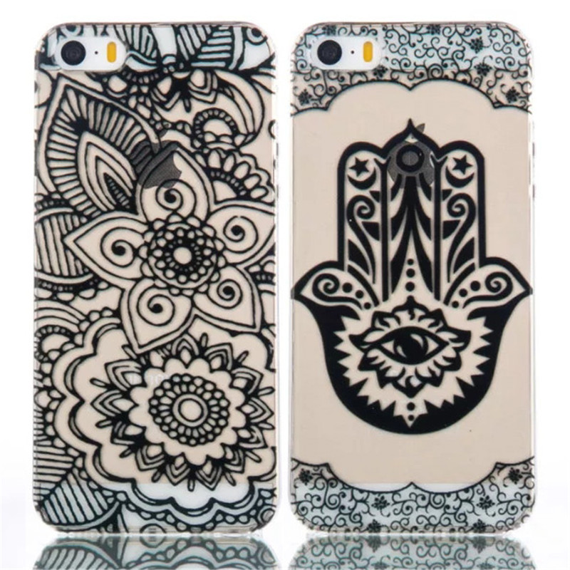 Brand New Black Floral Mandala Flower Elephant Ultra Slim Soft TPU Phone Cases Cover For iPhone 5 5G 5S 5C SE 6 6G 6S 6Plus 5.5