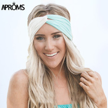 Aproms Twist Turban Headband for Women Hair Accessories Stretch Hairbands Girls Headwear Headbands Head Wrap Band Bandanas(China)