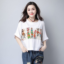 2017 New Large Size Cotton Linen Women Loose Tshirts for Summer Batwing Sleeve Vintage Crop Tops Mujer for Ladies C1C S M L XL