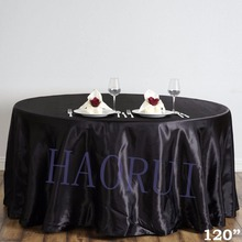 Free Shipping 10pcs Customized 120'' Black Dining Table Cloth Satin Tablecloth for Wedding Party Decoration Restaurant(China)