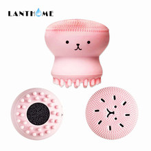 Silicone Face Cleansing Brush Facial Cleanser Pore Cleaner Exfoliator Face Scrub Washing Brush Skin Care Small Octopus Shape(China)