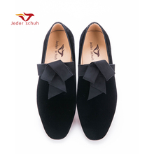 Jeder Schuh handsome smoking slipper in black silk with a refined velvet band detail Party and Wedding men Loafers(China)