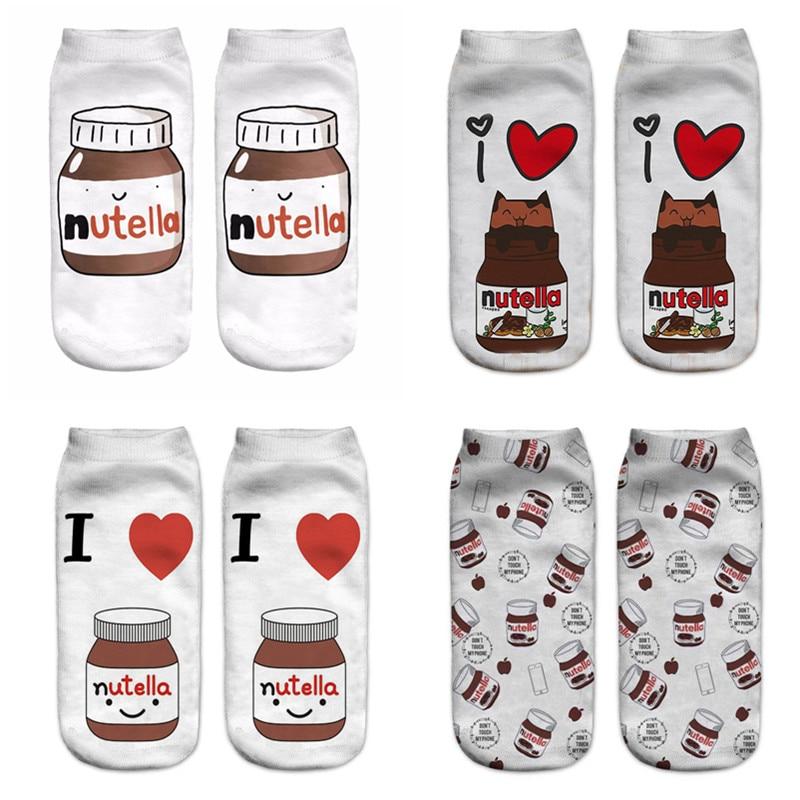 Nutella Socks X 3 Pairs Ladies//Girls Low Ankle Socks Novelty Xmas Secret Santa