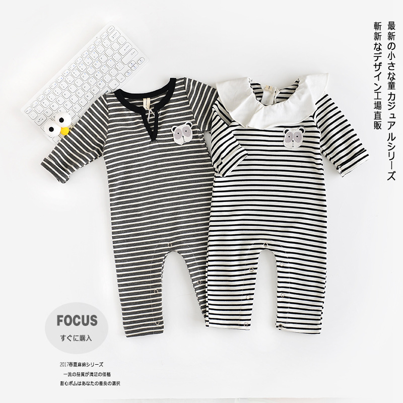 Baby Rompers Cotton Cute Cotton Panda Striped Baby Boy Girl Unisex Long Sleeves Rompers<br>