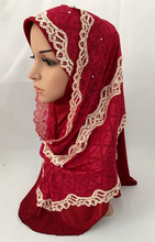 (12 pieces/lot) Muslim lace fashion two peices hijab scarf,inner hijab can wear seperate islamic wedding hijab ML0670a
