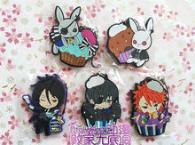 5 pcs/set  Anime Kuroshitsuji figures Black Butler Book of Circus Sebastian,Ciel,Joker,figure pvc phone strap pendant toys