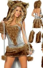 Hot Beautiful Furry Animal Costumes 3S1099 Sexy Big Bad Wolf Costume+Sexy Animal Party Cosplay Costume By Free Shipping(China)