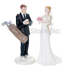 Bride and Groom Couple Golf Sport Theme wedding resin cake topper party supplies free shipping(China)