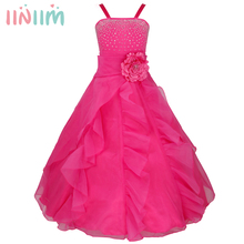 iiniim Kids Girls Embroidered Flower Bow Formal Party Ball Gown Prom Princess Bridesmaid Wedding Children Tutu Dress Size 2-14Y