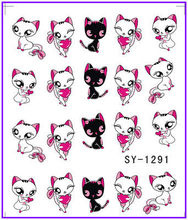 1X  Nail Sticker Cartoon Miss Cat  Water Transfers Stickers Nail Decals Stickers Water Decal Opp Sleeve Packing SY1291