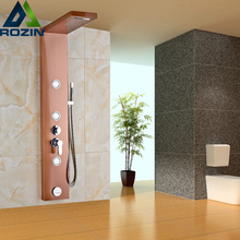 Rose Golden Waterfall Rainfall Showerhead Wall Mount Shower Panel Shower Column with Handshower and Body Message Jet
