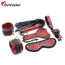 Morease 5pcs/set Red Leopard Eyepatch,Handcuff,Whip,Ball Gag ,Paddle 5 Pieces Leather Restraint Set Sex Toy(China)