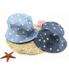 6697db83f43 Soft Cotton Summer Baby Sun Hat Infant Boys Girls Bucket Hat Denim Cotton Toddler  Kids Tractor