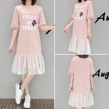 Summer Women dress Loose Mesh Slim Fat Is Placed In Long 200 Catties Dresses Pink 8666