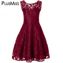 Buy Plus Size 5XL Sexy Vintage Retro Lace Dress Women Summer Sleeveless Line Mesh Sundress Elegant Party Midi Dress Big Size for $16.98 in AliExpress store