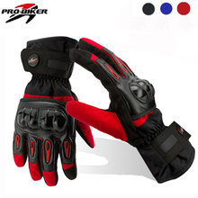 2015 Free Ship Motorcycle Gloves Racing Waterproof Windproof Winter Warm Leather Cycling Bicycle Cold Guantes Luvas Motor Glove(China)