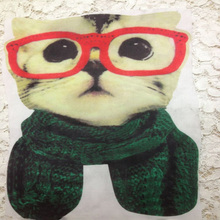 Hot ! Cartoon wearing eyeglasses Cat Iron On Patch For Clothing Embroidery Printing 3D Patches Jeans Blouse DIY Clothing Badge