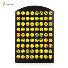 YimYik New Design 1 set/36 pairs Emoji Stud Women Earrings Fashion Smile Face Earrings Funny Smiley Earring For Ladies Girl Gift(China)