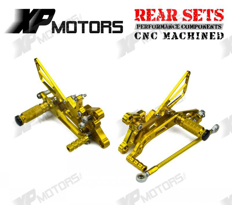 New Arrived CNC Adjustable Foot pegs Rearset Footrests Rear Sets For Yamaha YZF-R6 2006 07 08 09 10 11 2012 2013 2014 2015  Gold<br><br>Aliexpress