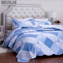 Bedsure Blue Flower Patchwork Bedclothes Plaid Quilt Bedspread Bed Sheet Soft Lightweight Bed Linen Bed Set(China)