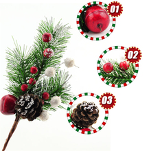 Christmas Branches Christmas Tree Ornament Pine Nuts Xmas Party Wedding Hanging Ornament Red fruit Christmas Decoration(China)