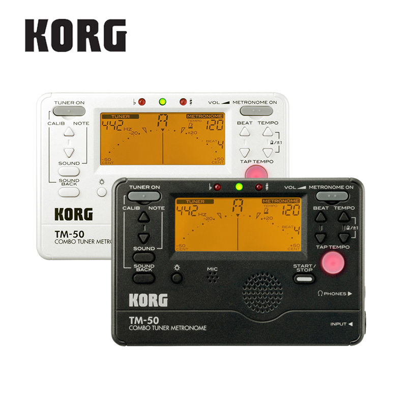KORG TM50 Combo Tuner/Metronome Black and White available can be used for wind, Guitar, Ukulele, and Piano Keyboard Instruments<br>