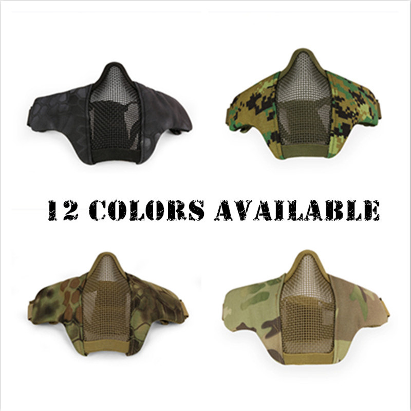 Hot Airsoft Mask Half Lower Face Metal Steel Net Mesh Mask Hunting Tactical Protective CS Halloween Party Half Face Mask GPD8237(China (Mainland))
