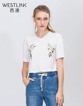 Westlink 2017 Printemps Nouveau Animaux Broderie À Manches Courtes V-cou Tricoté Femmes T-shirts De Mode Blanc