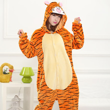 2017 Cute Autumn and Winter Cosplay Costume Flannel Cartoon Animals Tigger Pajamas for Women Adult Long Sleeve Pajama Sets