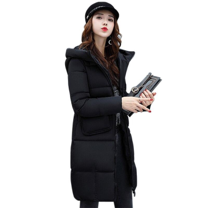 New Fashion Big Pocket Winter Jacket Women Black Long Paragraph Cotton Thick Cotton Hooded Casual Coat Women Slim JF021Îäåæäà è àêñåññóàðû<br><br>