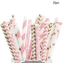 new 25pcs pink gold striped mixed kids birthday wedding decorative party decoration event supplies drinking Paper Straws