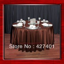 "Hot Sale Copper 54"" round shaped poly satin table cloth/Tablecloths/Table overlay for wedding party decorating(China)"