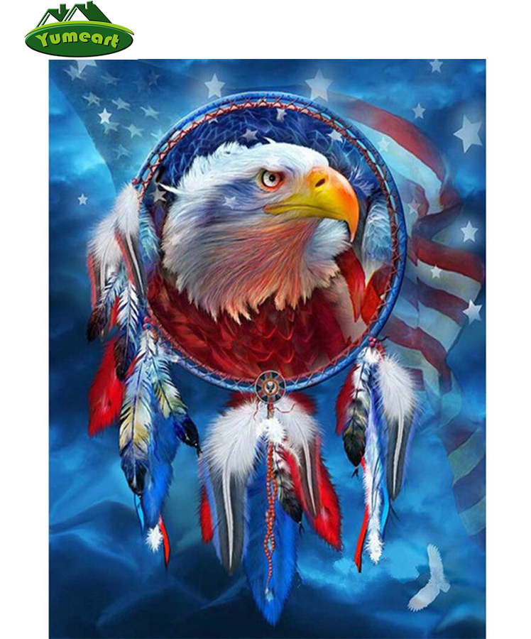 YUMEART Diy Diamond Painting Eagle Diamond Embroidery 3d Square Diamond Mosaic Full Cross Stitch Needlework Handmade Art Crafts(China (Mainland))