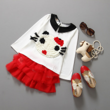 2015 autumn lovely kids clothes hello kitty long sleeve t-shirt+ veil skirt 2pcs clothing set