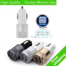 High Quality Mini Aluminum Universal 12V 2.1A Dual Usb Car Charger Adapter Cable For Mobile Cell Phones Tablet PC