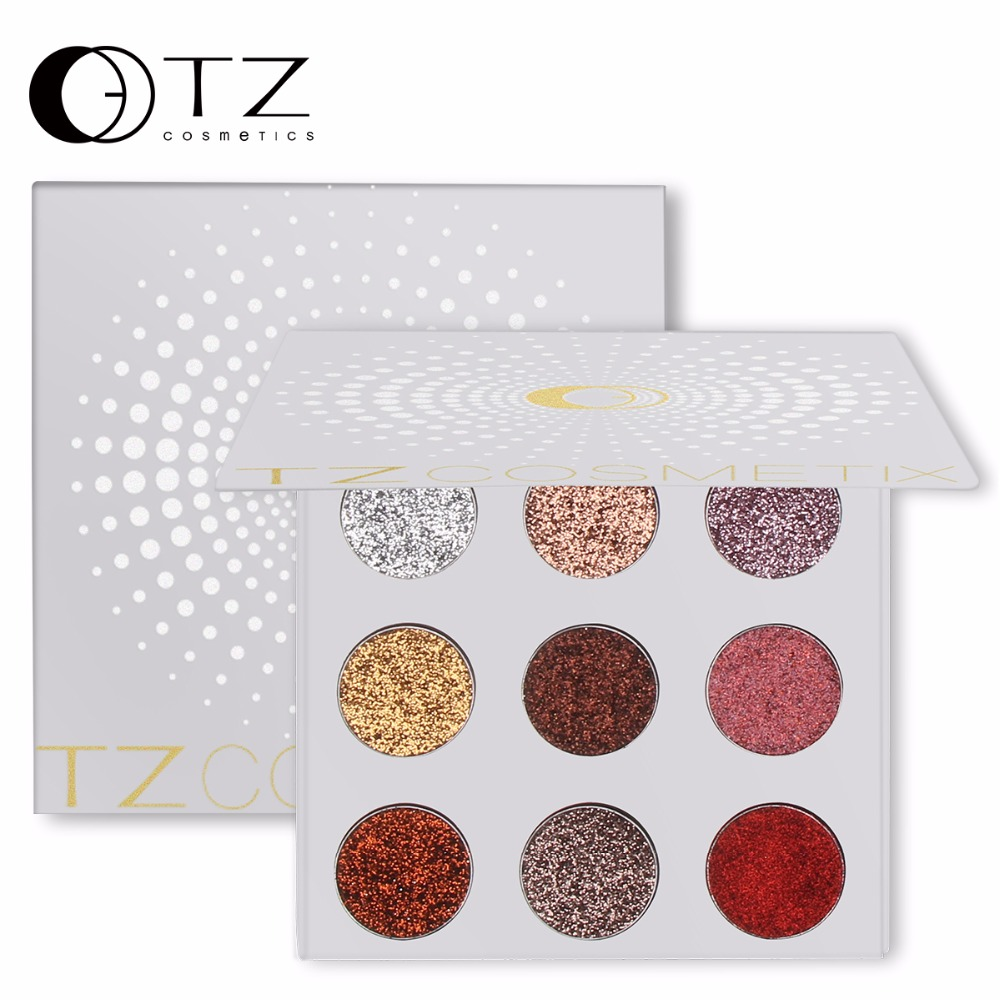 9 Colors Glitters Eye shdow Palette Rainbow Diamond Pressed Glitters Eyeshadows Palette Cosmetic Make Up Glitterinjections TZ(China)