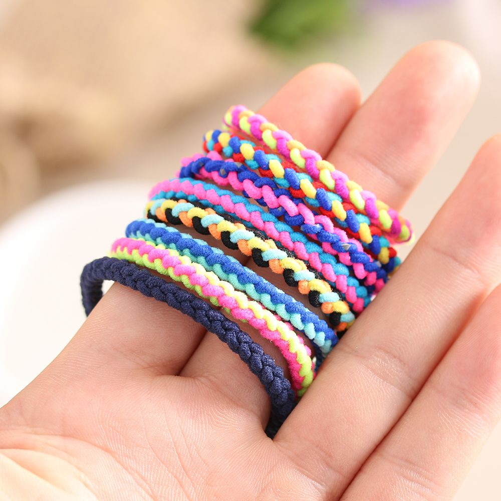 20pcs-Lovely-Fashion-Women-Girls-Hand-Wave-Colorful-Braided-Elastic-Rubber-Party-Hairband-Rope-Ponytail-Holder