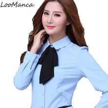 Buy Autumn winter women clothing long sleeve shirt OL elegant bow tie chiffon blouse slim office ladies plus size work wear tops for $16.36 in AliExpress store