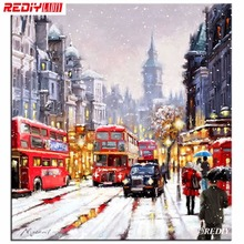 REDIY Round Diamond Embroidery Scenic Needlework Cross Stitch Round Resin Full Diamond Painting Snow London Red Bus Wall Picture